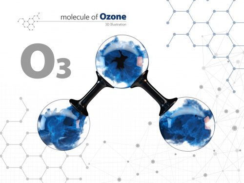 Molecule of ozone with with tehnology background. 3d Illustration,